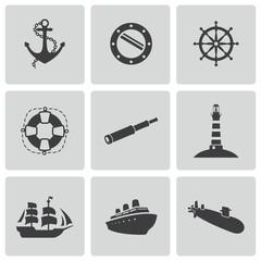 Vector black nautical icons set