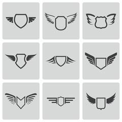 Vector black shield icons set