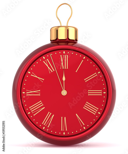 Happy New Year alarm clock bauble Christmas ball ornament