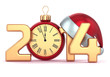 Happy New Year 2014 alarm clock Santa hat Christmas ball