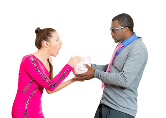 woman taking money from boyfriend man on white background