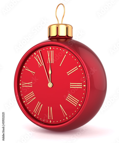 Happy New Year alarm clock Christmas ball ornament bauble