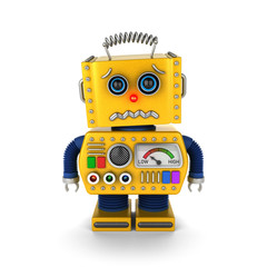 Cute vintage toy robot about to cry