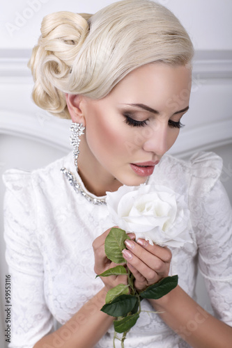 beautiful bride with blond hair