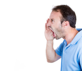 Angry, mad, upset man yelling at someone