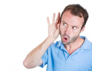 Nosy, surprised man listening to someone's conversation