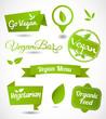 Vegan and vegetarian food stamps set vector