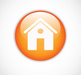 Round orange web home page button with house icon vector