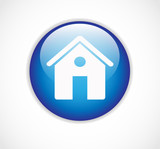 Round blue web home page button with house icon vector