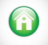 Round green web home page button with house icon vector