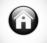 Round black web home page button with house icon vector