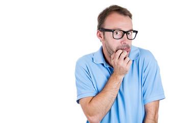 Shy, weak, nerdy young man in black glasses, socially awkward
