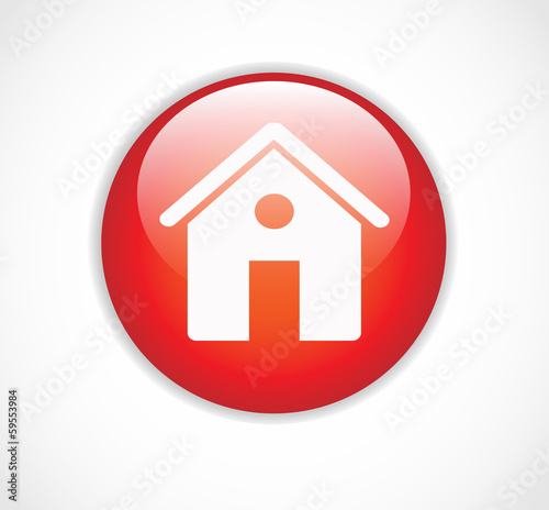 Round red web home page button with house icon vector