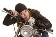 woman black leather motorcycle lay look
