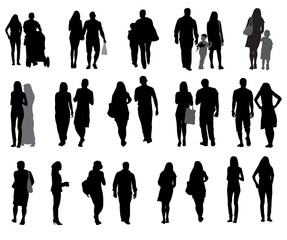 Set of Silhouette Walking People and Children. Vector