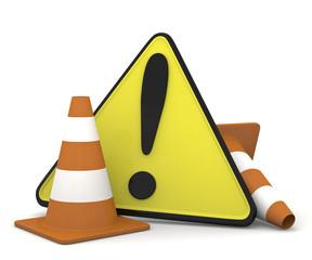 traffic cone con cartello di pericolo