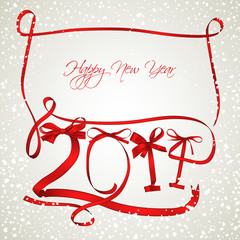 Red ribbons New Year 2014 greeting card