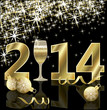Happy New 2014 year card with champagne, vector illustration