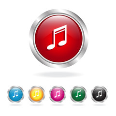 music icons set glossy buttons