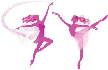 Pink fairies dance