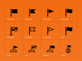 Flag icons on orange background.