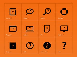 Help and FAQ icons on orange background.