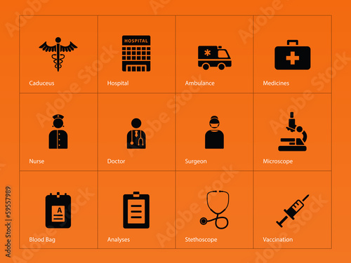 Hospital icons on orange background.