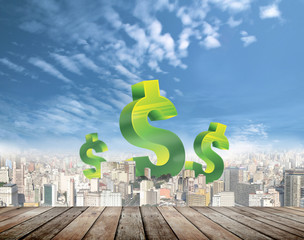 Success in business finance with cityscape background