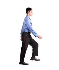 businessman simulating of walking on stair