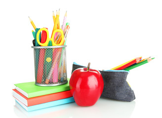 pencil box with school equipment and apple isolated on white