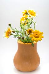 Pumkin bucket wth wildflowers