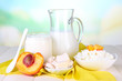Fresh dairy products with peaches
