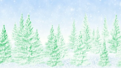 Winter frosty Christmas forest, falling snow