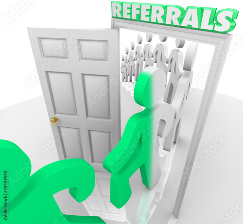 Referrals Customers Walking Through Store Door