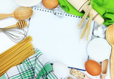 Cooking concept. Basic baking ingredients and kitchen tools