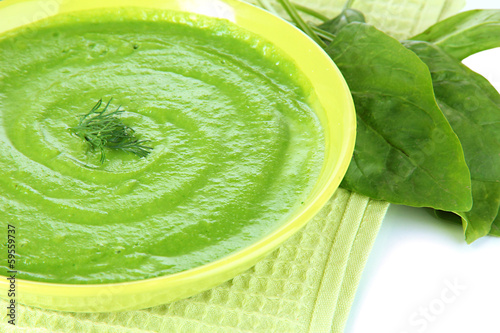 Tasty spinach soup, close up