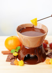 Chocolate fondue with fruits,