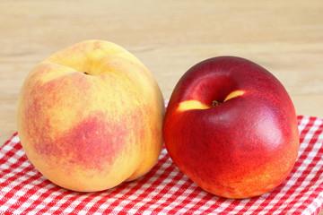 Peach and Nectarine on a checkered cloth