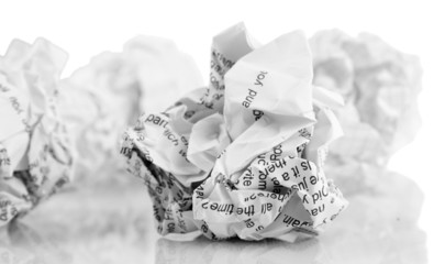 Crumpled paper balls isolated on white