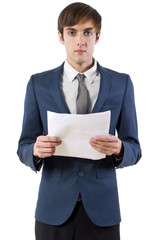 young businessman reading a presentation / press announcement