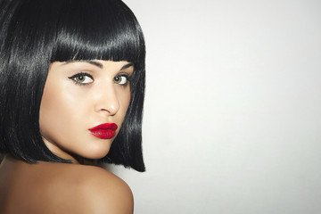 Beautiful Brunette Woman.Black Hair.bob Haircut.red lips girl