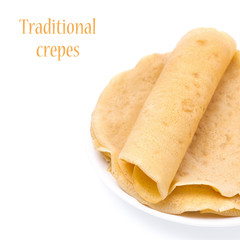 stack of crepes on a plate, close-up, isolated
