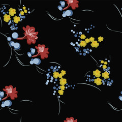 Extravagant repeating Floral Swatch On Black Background