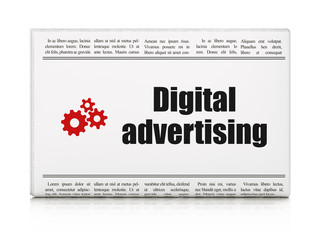 Advertising concept: newspaper with Digital Advertising and