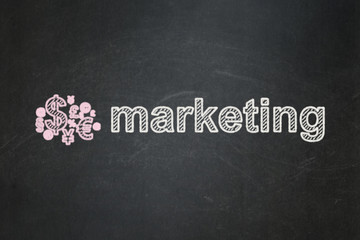 Advertising concept: Finance Symbol and Marketing on chalkboard