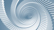 Blue 3d illustration background with spiral stairs perspective