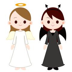 若い女性 天使と悪魔