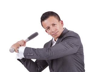 Young mixed race businessman swinging his baseball bat