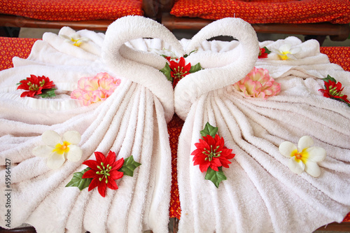 towels decorations for an Asian spa.