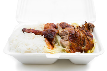 lunch box of roasted duck with clipping path